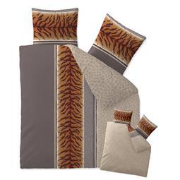 CelinaTex Bettwäsche Garnitur 200x200 Baumwolle Reißverschluss Fashion Adda grau beige braun - Wendedesign