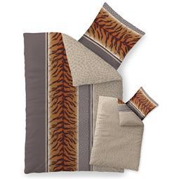 Bettwäsche Garnitur 135x200 Baumwolle Reißverschluss Fashion Adda grau beige braun - Wendedesign