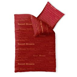 Bettwäsche Garnitur 135x200 Baumwolle Reißverschluss Fashion Adora rot