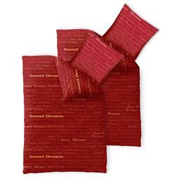 Bettwäsche Garnitur 135x200 Baumwolle Reißverschluss 4 teilig Fashion Adora rot
