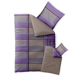 Bettwäsche Garnitur 135x200 Baumwolle Reißverschluss Fashion Aleksi violett grau braun - Wendedesign
