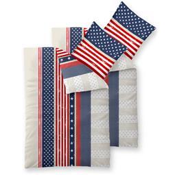 Bettwäsche Garnitur 135x200 Baumwolle Reißverschluss 4 teilig Fashion America weiß rot blau