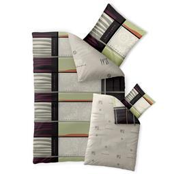 Bettwäsche Garnitur 135x200 Baumwolle Reißverschluss Fashion Amia schwarz beige - Wendedesign