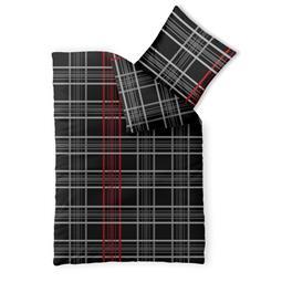 Bettwäsche Garnitur 135x200 Baumwolle Reißverschluss Fashion Bianca schwarz weiß rot
