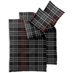 Bettwäsche Garnitur 135x200 Baumwolle Reißverschluss 4 teilig Fashion Bianca schwarz weiß rot