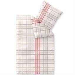 Bettwäsche Garnitur 135x200 Baumwolle Reißverschluss Fashion Bille beige grau rot