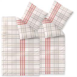 Bettwäsche Garnitur 135x200 Baumwolle Reißverschluss 4 teilig Fashion Bille beige grau rot
