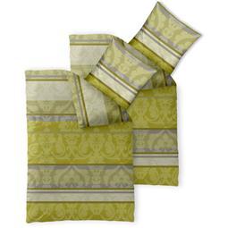 Bettwäsche Garnitur 155x200 Baumwolle Reißverschluss 4 teilig Fashion Carrie hell grün beige