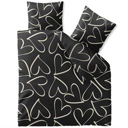CelinaTex Bettwäsche Garnitur 200x220 Baumwolle Reißverschluss Fashion Couers schwarz creme Herzen