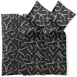 Bettwäsche Garnitur 135x200 Baumwolle Reißverschluss 4 teilig Fashion Coeurs schwarz creme