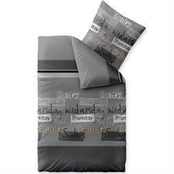 Bettwäsche Garnitur 135x200 Baumwolle Reißverschluss Fashion Crazy grau schwarz weiß