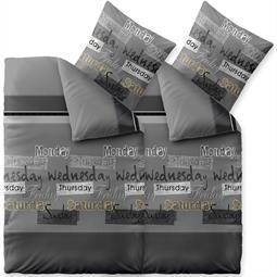 Bettwäsche Garnitur 135x200 Baumwolle Reißverschluss 4 teilig Fashion Crazy grau schwarz weiß
