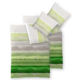 Bettwäsche Garnitur 155x200 Baumwolle Reißverschluss 4 teilig Fashion Dorie grün grau