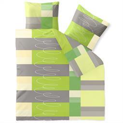CelinaTex Bettwäsche Garnitur 200x220 Baumwolle Reißverschluss Fashion Ellen grün grau weiß
