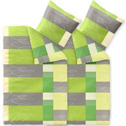 Bettwäsche Garnitur 135x200 Baumwolle Reißverschluss 4 teilig Fashion Ellen grün grau weiß