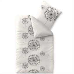 Bettwäsche Garnitur 135x200 Baumwolle Reißverschluss Fashion Fancy weiß schwarz - Wendedesign