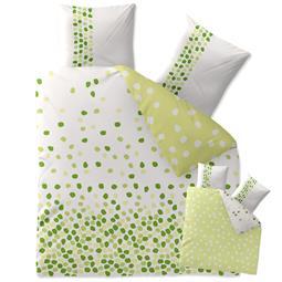 CelinaTex Bettwäsche Garnitur 200x200 Baumwolle Reißverschluss Fashion Ilona weiß grün -Wendedesign