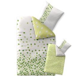 Bettwäsche Garnitur 135x200 Baumwolle Reißverschluss Fashion Ilona weiß grün - Wendedesign