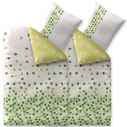 Bettwäsche Garnitur 135x200 Baumwolle Reißverschluss 4 teilig Fashion Ilona weiß grün - Wendedesign