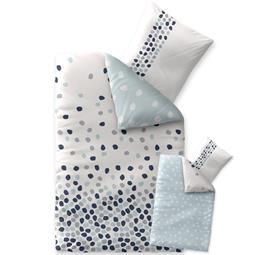 Bettwäsche Garnitur 135x200 Baumwolle Reißverschluss Fashion Iris weiß blau -Wendedesign