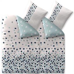 Bettwäsche Garnitur 135x200 Baumwolle Reißverschluss 4 teilig Fashion Iris weiß blau - Wendedesign
