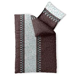 Bettwäsche Garnitur 135x200 Baumwolle Reißverschluss Fashion Jendra braun türkis creme