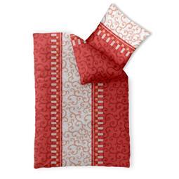 Bettwäsche Garnitur 135x200 Baumwolle Reißverschluss Fashion Jola rot creme