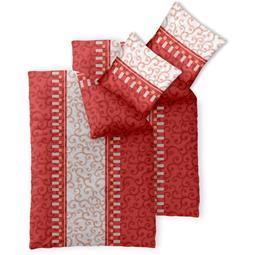 Bettwäsche Garnitur 135x200 Baumwolle Reißverschluss 4 teilig Fashion Jola rot creme