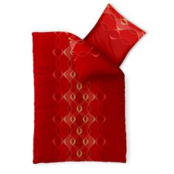 Bettwäsche Garnitur 135x200 Baumwolle Reißverschluss Fashion Lara rot gold