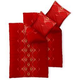 Bettwäsche Garnitur 135x200 Baumwolle Reißverschluss 4 teilig Fashion Lara rot gold