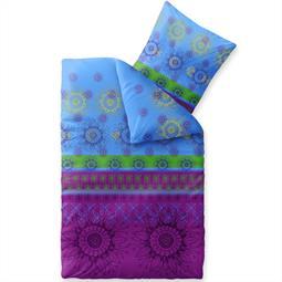 Bettwäsche Garnitur 135x200 Baumwolle Reißverschluss Fashion Laureen blau grün lila
