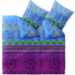 Bettwäsche Garnitur 135x200 Baumwolle Reißverschluss 4 teilig Fashion Laureen blau grün lila
