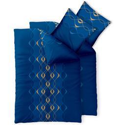 Bettwäsche Garnitur 155x200 Baumwolle Reißverschluss 4 teilig Fashion Leah türkis blau gold