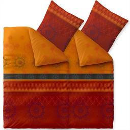 Bettwäsche Garnitur 135x200 Baumwolle Reißverschluss 4 teilig Fashion Legra orange schwarz