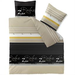 CelinaTex Bettwäsche Garnitur 200x200 Baumwolle Reißverschluss Fashion Lian schwarz sand