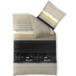 Bettwäsche Garnitur 135x200 Baumwolle Reißverschluss Fashion Lian schwarz sand