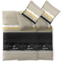 Bettwäsche Garnitur 135x200 Baumwolle Reißverschluss 4 teilig Fashion Lian schwarz sand Wendedesign