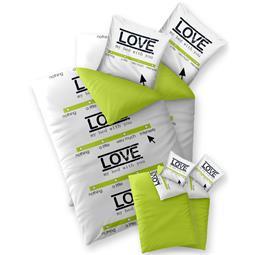 Bettwäsche Garnitur 135x200 Baumwolle Reißverschluss 4 teilig Fashion Linda weiß grün - Wendedesign