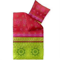 Bettwäsche Garnitur 135x200 Baumwolle Reißverschluss Fashion Lindsay grün pink