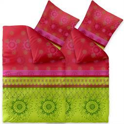 Bettwäsche Garnitur 135x200 Baumwolle Reißverschluss 4 teilig Fashion Lindsay grün pink