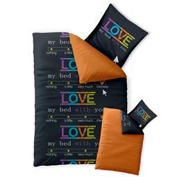 Bettwäsche Garnitur 135x200 Baumwolle Reißverschluss Fashion Love schwarz orange - Wendedesign