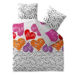 CelinaTex Bettwäsche Garnitur 200x220 Baumwolle Reißverschluss Fashion Mimar weiß Herzen