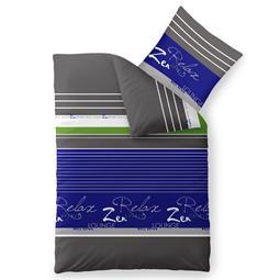 Bettwäsche Garnitur 135x200 Baumwolle Reißverschluss Fashion Mirja blau grau weiß