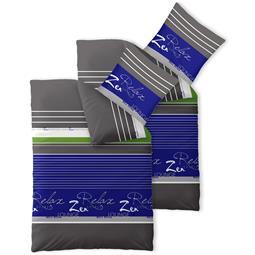 Bettwäsche Garnitur 135x200 Baumwolle Reißverschluss 4 teilig Fashion Mirja blau grau weiß