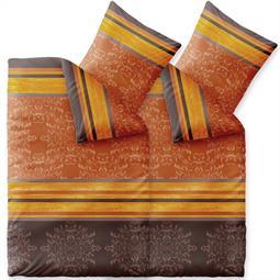 Bettwäsche Garnitur 135x200 Baumwolle Reißverschluss 4 teilig Fashion Natalie braun