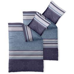Bettwäsche Garnitur 135x200 Baumwolle Reißverschluss 4 teilig Fashion Nicole blau lila