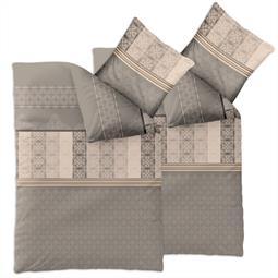 Bettwäsche Garnitur 135x200 Baumwolle Reißverschluss 4 teilig Fashion Samantha grau