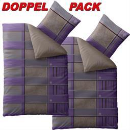 CelinaTex Bettwäsche Garnitur 155x220 Baumwolle Reißverschluss 4 teilig Fashion Aleksi violett grau braun - Wendedesign