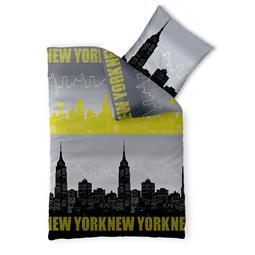 CelinaTex Bettwäsche Garnitur 135x200 Baumwolle Reißverschluss Fashion Skyline schwarz gelb