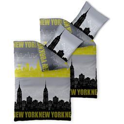 Bettwäsche Garnitur 135x200 Baumwolle Reißverschluss 4 teilig Fashion Skyline schwarz gelb